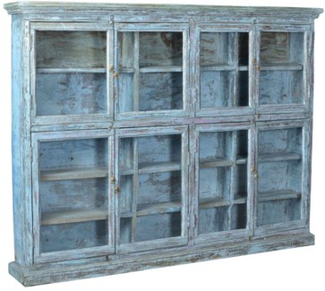 Vintage Multi-Shelf Bookcase, Pale Blue, 77x10x58 Inches