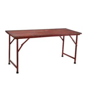 RM-35588 - Vintage Iron Dining Table Red, 60.5x24x28.5 Inches