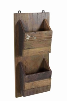 RS-40185 - Recycled Wood Double Pocket Wall Organizer, 10x4x22 Inches