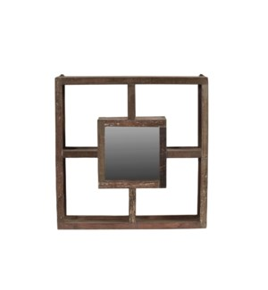 Wood Framed Square Mirr OS