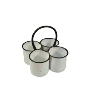 RS-41987 - Vintage 4 Iron Pots, 8x8x9 Inches