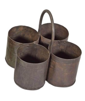 TOR-060 - Vintage Iron 4 Pots Carrier r 8.5x8.5x8.5 Inches