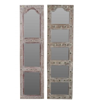 RM-35767 - Vintage Multipane Wood Mirror, Various, 18x2x71 inches On Sale 30% off