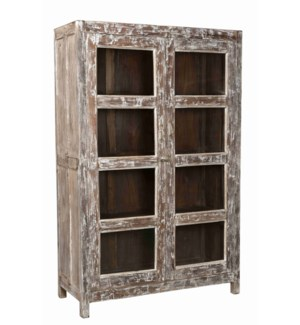 TC-NB-1264 Vintage 8 Pane Wood Cabinet, 47x17.7x69.7 Inches