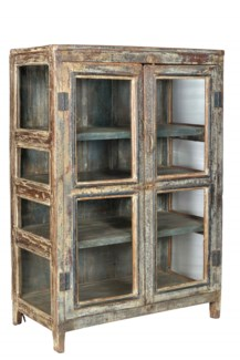 Vintage 4 Pane Wood Cabinet, Distressed, 35.8x18.5x51.9