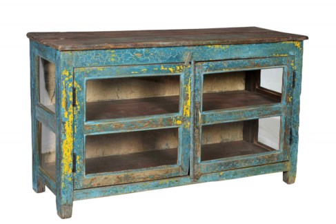 Vintage Side Cabinet, Blue and Yellow Finish