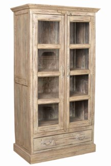 IT-DG-070 Vintage Wood Cabinet w/ Drawer, Cream, Large, 38.9x19x68.9 Inches