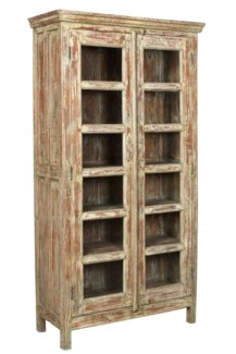 Vintage 12 Pane Wood Cabinet, Distressed, 38x15.7x71.5 Inches