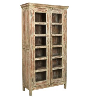 """Vintage 12 Pane Wood Cabinet, Distressed, 38x15.7x71.5 Inches"""