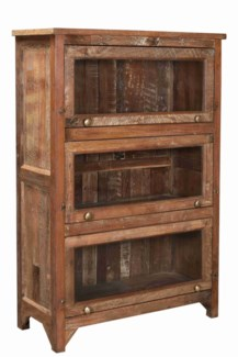 Vintage 3 Door Wood Bookshelf Cabinet, 39x15x55.9 Inches