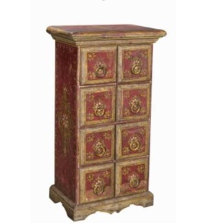 NB-001677 VINTAGE SMALL PAINTED CHEST OF 8 DRAWERS