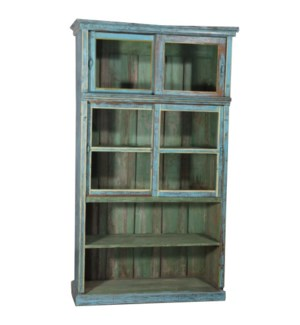 """""""RM045270 WOODEN BOOK RACK, DISTRESSED BLUE"""""""