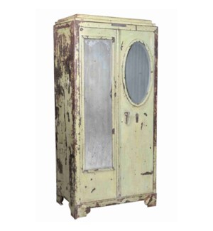 """""""RM028002 IRON TALL CABINET WITH MIRROR, 2 DR, DISTRESSED"""""""