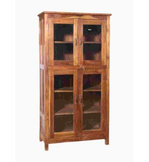 """""""RM042570 WOODEN TALL CABINET, 4DR, NATURAL BROWN"""""""