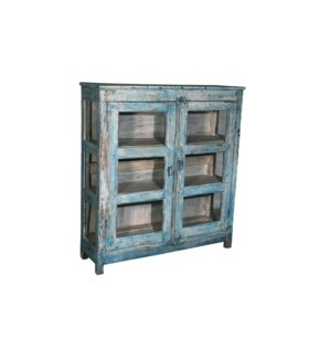 """""""RM043773 WOODEN CABINET, 2DR, DISTRESSED BLUE"""""""