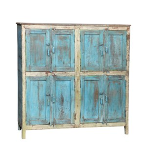 """""""RM044236 WOODEN CABINET, 8 DR., DISTRESSED BLUE & WHITE"""""""