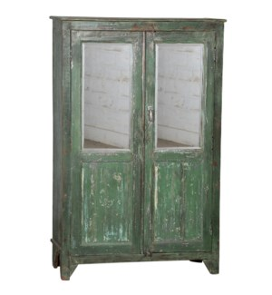 """""""RM044396 WOODEN TALL CABINET WITH MIRRORS, DISTRESSED GREEN"""""""