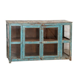 """""""RM044793 WOODEN CABINET, 2DR, DISTRESSED BLUE"""""""