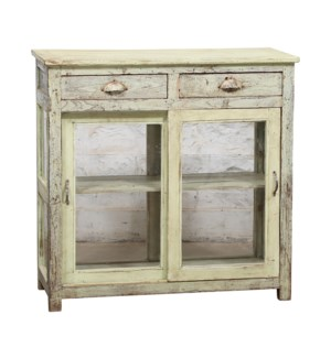 """""""RM044943 LARGE WOODEN CABINET, 2 DR & 2 DRAWER, DISTRESSED"""""""