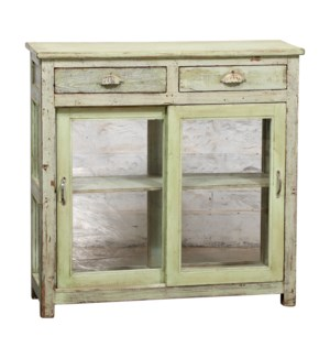 """""""RM044944 MEDIUM WOODEN CABINET, 2 DR & 2 DRAWER, DISTRESSED"""""""