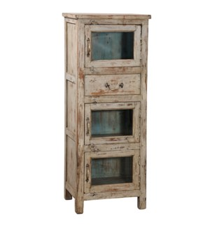 """""""RS052028 WOODEN CABINET WITH SINGLE DRAWER, CREAM DISTRESSE"""""""