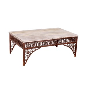 """RM-046685, Iron table with wooden top"""