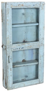 Old Original Piece Wooden Wall Cabinet 1 Door Light Blue 17.8x4.7x36.2