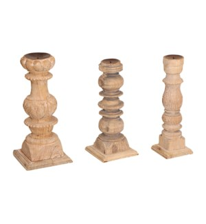 """NB-001657 VINTAGE WOOD CANDLE STAND, ASSORTED"""