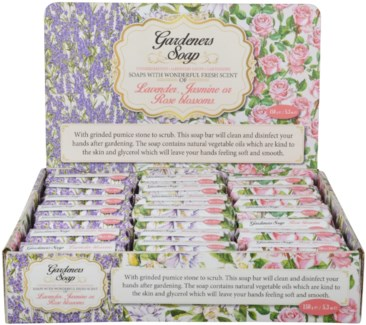 Gardeners Soap & Display - 24 assorted (8 of each Lavender, Jasmine or Rose Blossom) - (3.5x2.5x1.