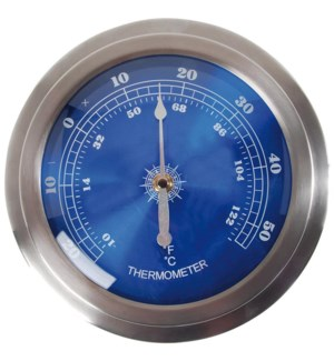 Round wall thermometer. Stainless Steel, glass, plastic. 22,9x5,5x22,9cm.