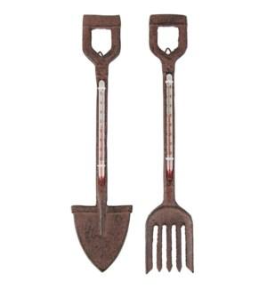 """""""Thermometer fork/spade ass. Cast iron, glass, kerosine. 5,0x1,4x26,5/6,5x1,4x26,5cm. oq/12,mc/24"""""""