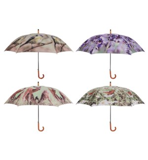 Umbrella nature print ass 4. Polyester, metal, wood. 120,0x120,0x95cm. oq/12,mc/48 Pg.116 - FD