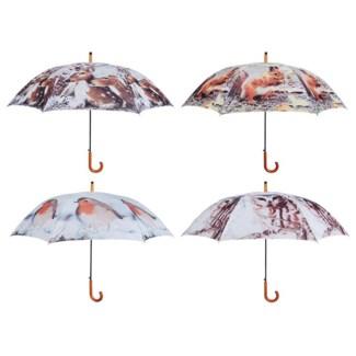 Umbrella nature print ass 4. Polyester, metal, wood. 120,0x120,0x95,0cm. oq/12,mc/48 Pg.117
