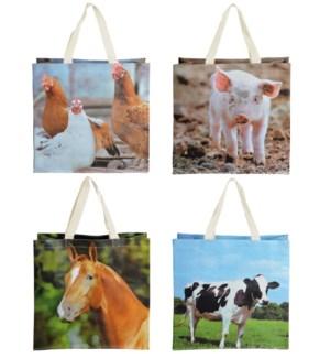 Shopping bag farm animals ass.