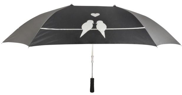 Lover umbrella. Pongee, aluminum, fiberglass, iron, EVA. 128,5x96,5x73,5cm. oq/6,mc/24 Pg.115