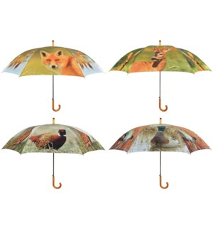 Umbrella wildlife ass. Polyester, metal, wood. 120,0x120,0x95,0cm. oq/12,mc/48 Pg.117