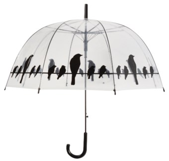Umbrella transparent birds on wire. POE, metal, PP. 83,0x83,0x81,5cm. oq/12,mc/48 Pg.115