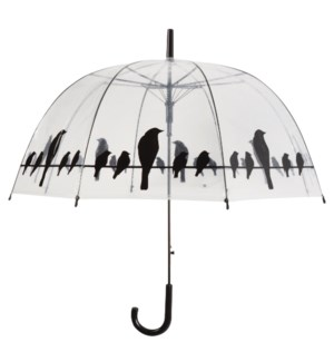 Umbrella transparent birds on wire. POE, metal, PP. 83,0x83,0x81,5cm. oq/12,mc/48 Pg.115