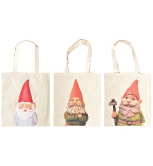 Shopping bags garden gnome ass. Cotton. 31,0x0,2x35,0cm. oq/24,mc/192 Pg.118