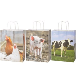 Paper bags farm animals S ass. - (8.7x3.9x15.1 inches)