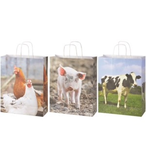 Paper bags farm animals L ass. - (12.6x4.7x19.7 inches)