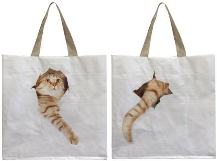Shopping bag cat break through. 0. 39,5x14,5x40,0cm. oq/24,mc/96