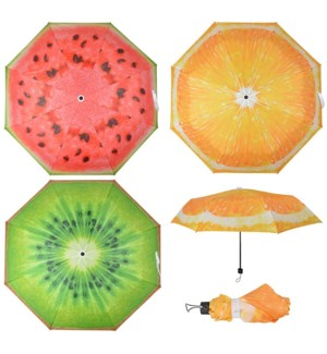 Foldable umbrella fruit 3 ass. - 39x39x22.25 inches