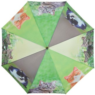 Umbrella cats, Polyester, metal, wood - 47.2x47.2x37.4in.