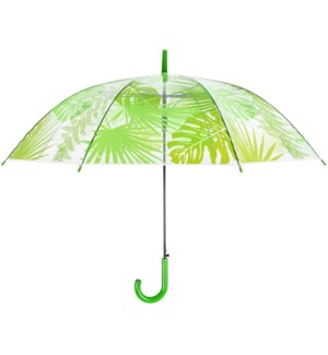 Umbrella transparent jungle leaves, POE, metal, PP - 39.4x39.4x32.1in.