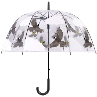 Transparent umbrella 2 sided birds -  31.8x31.8x31.9in.