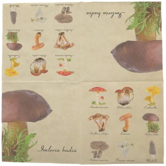 Napkins collectibles mushrooms, Tissue paper (3 ply) - 6.5x6.5x0.9in.