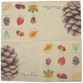 Paper napkins collectibles trees, Tissue paper (3 ply) - 6.5x6.5x0.9in.