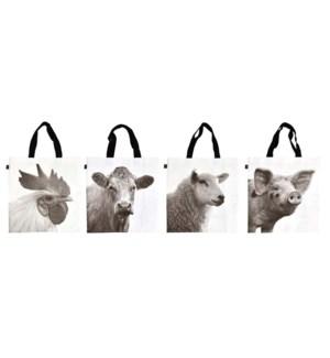 Shopping bag farm animals b/w