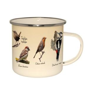 Enamel mug birds